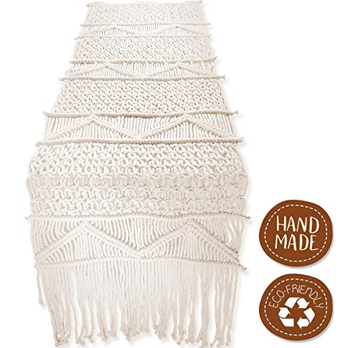 SnugLife Macrame Table Runner (86' X 13') Long | Boho Table Runner | Wedding Table Decor | Vintage Farmhouse and Bohemian Dining Room Style | Off White