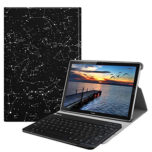 Fintie Bluetooth QWERTZ Tastatur Hülle für Huawei Mediapad M5/M5 Pro 10.8 Zoll - Ständer Schutzhülle mit Magnetisch Abnehmbarer Drahtloser Deutscher Bluetooth Tastatur, Sternbild