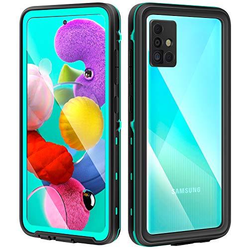 meritcase Samsung Galaxy A51 Hülle, IP68 Wasserdicht Handyhülle Samsung A51 Schutzhülle Stoßfest Staubdicht 360 Grad Hülle mit Integriertem Bildschirmschutz Blau