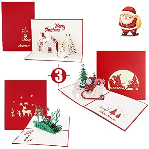Weihnachtskarten mit Umschlag Set, 3D Pop up Frohe Weihnachten Karte Grußkarten Weihnachtsmann Schloss Rentier Muster, Laser Weihnachtsgrußkarten Pop Up Weihnachtskarte Klappkarten Geschenkkarten