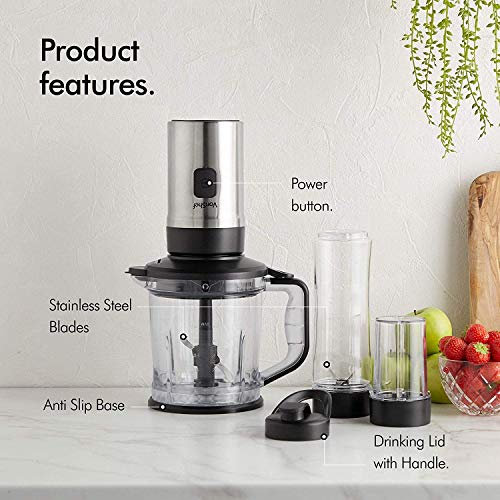 VonShef 220 Volts 3 in 1 Food Blender – 500W Fitness Blender, Smoothie Maker, Food Processor, Grinder Bundle With Dynastar Plug Adapter | 220-240 Volts (NOT FOR USA)