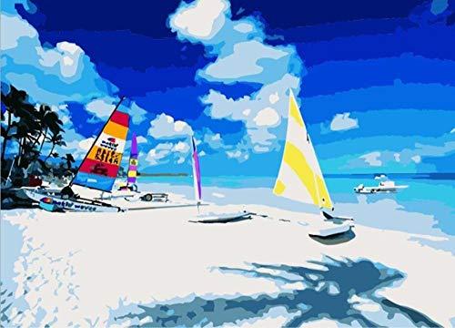 WENXIUF Malen Nach Zahlen Set Hawaii Surfen - DIY Leinwand Ölgemälde Set Erwachsene Und Kinder 40X50Cm Rahmen