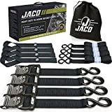 JACO Ratchet Tie Down Straps (Heavy Duty Set) - 1.6' x 8 ft | AAR Certified Break Strength (5,208 lbs) | with (4) Utility Ratchet Straps, (4) 17' Soft Loop Tie Downs, and Accessories (Black)