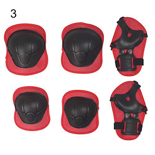 Geshig-6 Stück Outdoor Kinder Skateboard Knieschoner Ellenbogen Handgelenk Handstütze Schutzset, rot