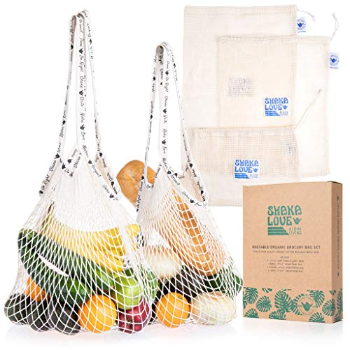 SHAKA LOVE-10% DONATED TO CHARITY: Reusable Mesh Bags: Organic Cotton Cloth Grocery Shopping Bag Set- 2 Long Handle Carry Totes & 3 Mesh Reusable Produce Bags - Foldable, Washable Heavy Duty Tote Bags