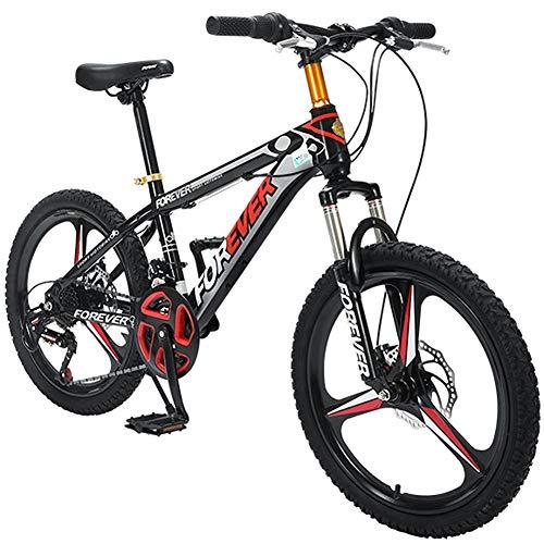 Mountain Bike da 20 Pollici per Bambini, Bici da Montagna Hardtail 24 velocità con Forcella Ammortizzata/Freno a Disco Bicicletta da Montagna a Sospensione Completa in Acciaio al Carbonio,Nero