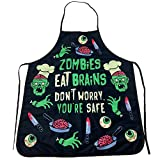 Crazy Dog T-Shirts Zombies Eat Brains Don't Worry You're Safe Funny Halloween Brains Cooking Graphic Kitchen Smock (Apron)
