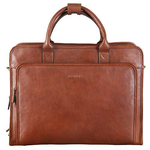 Banuce Vintage Full Grains Italian Leather Briefcase for Men Attache Case 14 Inch Laptop Business Bags Men's Handbags Brown