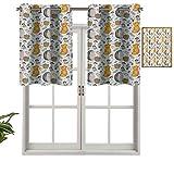 Hiiiman Paneles de cortina con ojales en la parte superior, patrón de cenefas con canasta de zorro erizo, setas y abeto en el bosque, juego de 2, 137 x 91 cm, aislamiento térmico para sala de estar