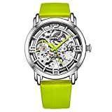 Stuhrling Original Watches for Women Automatic Watch - Skeleton Watch for Women - Self Wind Womens Dress Watches with Silver Face and Green Leather Watch Strap Mechanical Wrist Watch for Woman
