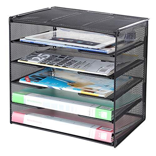 Samstar Bandeja de papel para cartas, organizador de archivos de escritorio de malla con estante y clasificador de 5 niveles, color negro