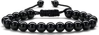 M MOOHAM Black Mens Bracelet Gifts - Natural Black Agate Stone Womens Anxiety Bracelets, Adjustable Tiger Eye Bracelet Retirement Gifts for Women Men