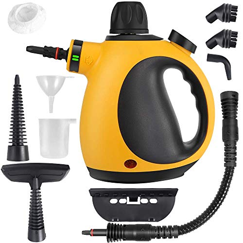 AFMAT Handheld Steam Cleaner, Portable Steam Cleaner Handheld 10 in 1 Set Multi-Function Multi-Purpose, and Chemical-Free, Multi-Surface All Natural, for Kitchen, Home -Yellow