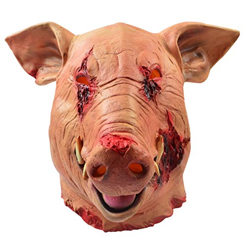 MeijieM Schwein Maske Latex Halloween Maske Latex Tiermaske Schweinekopf für Halloween Weihnachten Party Maskerade