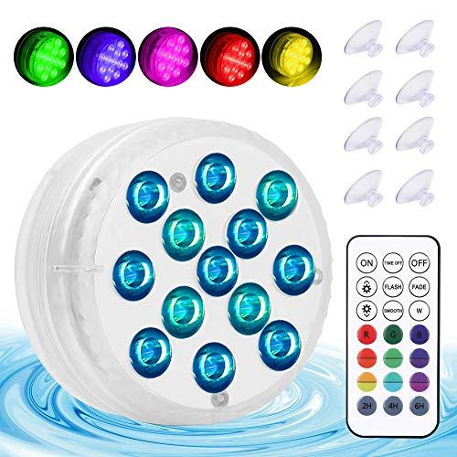 Unterwasser LED Licht, Wasserdichte LED Licht, Poollampe Unterwasser mit RF Fernbedienung 13 LED Perlen IP68 Wasserdichtes für Teich Schwimmbad Aquarium Garten Vase Party Fest Weihnachte (4 Stück)