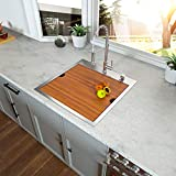 Bar Sink Drop In - Kichae 15x15 Square Kitchen Sink Drop Topmount 18 Gauge Stainless Steel Single Bowl Ledge Workstation Bar Prep Sink Basin