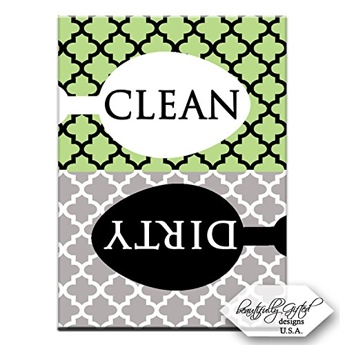 Clean Dirty Dishwasher Magnet Dishes Sign – Cute Elegant Quatrefoil Moroccan Trellis Modern Pattern – GREEN BLACK GREY – 3.5 x 2.5 – Housewarming, Bridal Registry & Gag Gift Idea for Men Women Teens
