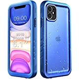 Cozycase Compatible with Waterproof iPhone 11 case, Built-in Screen Protector, Full-Body Rugged Bumper Sealed Case Cover, Shockproof Dustproof Waterproof Case for iPhone 11 6.1 inch (Blue)