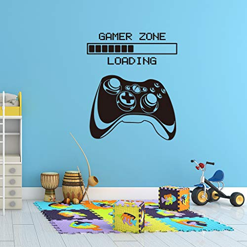 Gamer Wall Decal, Game Zone Loading Wall Stickers, Video Game Handle Controller Art Design Murals, Vinyl Joystick Wallpaper for Boys Room Home Playroom Bedroom Walls TV Background Net Bar Decoration