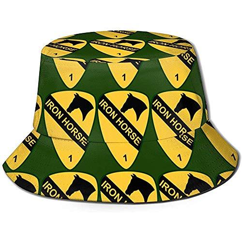 1ra Brigada de EE. UU. 1ra Brigada Sombrero de Sol con Cubo de Pescador Impreso, Funky Junque Bucket Caps