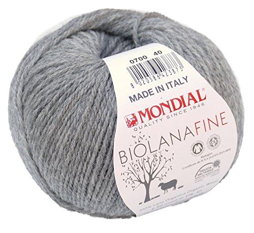 Biowolle Lane Mondial Bio Lana Fine Fb. 700 grau, 50g Reine Schurwolle zum Stricken, Babywolle Bio