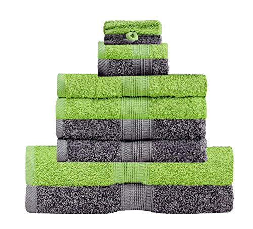 GREEN MARK Textilien 10 TLG. FROTTIER Handtuch-Set mit verschiedenen Größen 4X Handtücher, 2X Duschtücher, 2X Gästetücher, 2X Waschhandschuhe | Farbe: Anthrazit/Apfelgrün | Premium Qualität