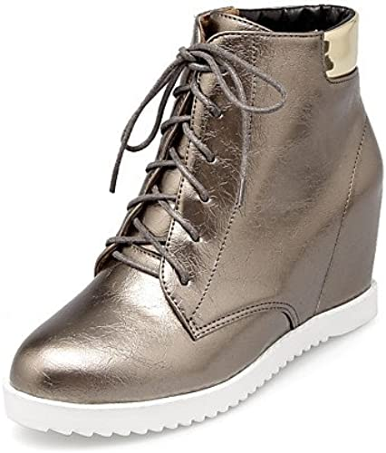 XZZ  Damen-Stiefel-Kleid-Kunstleder-Keilabsatz-Modische Stiefel-Schwarz  Weiß   Silber
