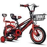 FDSAG Bicicletas De Montaña para Niños con Formación Ruedas Niños Muchachas Estilo Libre Bicicleta para 2-9 Años De Edad con Espalda Asiento Y Cesta, Acero Carbono para Niños Bicicleta,18 Inch