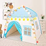 Princess Castle Play Tent Pink Large Play Tents for Kids Oxford Fabric Portable Teepee Tent for Kids Indoor and Outdoor with Carry Bag Flags and Lights Birthday Gift (Blue+Flags+Lights)