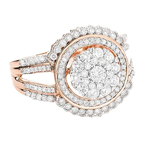 minjiSF Anillo completo de diamante para mujer, anillo de boda, anillo hueco, anillo de compromiso, anillo de plata, anillo de boda para mujer