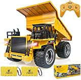 Remote Control Construction Dump Truck Toy 2.4G RC Truck 6 Channel Bulldozer 4 Wheel Driver Mine Construction Alloy Metal Vehicle Truck 1:18 with 2 Rechargeable Batteries for Boys Birthday Xmas Gift