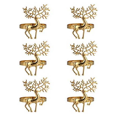 PRETYZOOM 6 Stück Weihnachtshirsch Serviettenring Legierung Tier Serviette Schnalle Ring für Küche Restaurant Thanksgiving Empfänge Hochzeit Abendessen Dekoration (Golden)