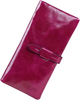 Leather Women's Wallet Leather Long Oil Wax Leather Wallet Casual Large Capacity Clutch Waterproof (Color : Purple, Size : S)