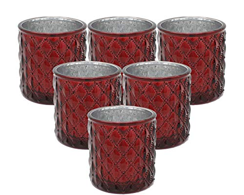 Ms Lovely Large Quilted Glass Votive Tealight Candle Holders - Bulk Set of 6 - Dark Red