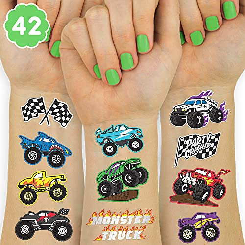 xo, Fetti Monster Truck Party Supplies Temporary Tattoos - 42 Metallic Styles   Trucks, Big Cars, Finish Lines + Flames