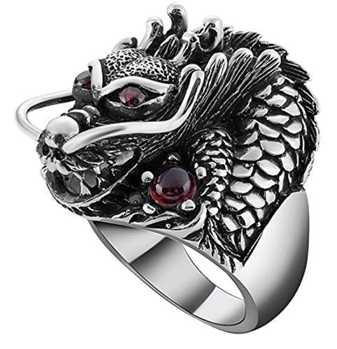 LIMUZHI Anillo de plata de ley 925 para hombre, diseño de cabeza de dragón dominante a la moda punk anillo de boda para novio tamaño 14-26, anillo 18#