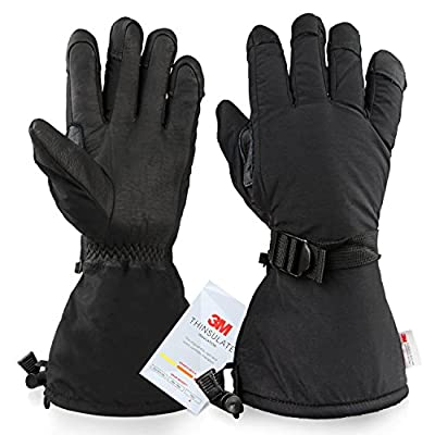 Snowboard Gloves Cold Proof Winter Snow Leather Work Glove 3M Thinsulate Insulation Thermal Cotton Thick Cowhide - Waterproof Windproof Insulated for Men and Women Black Medium