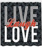 oooooo Live Lachen Liebe Dekor Duschvorhang Verschiedene getippte Worte der Weisheit viktorianischen antiken Damastmotiven Fliesen Stoff Badezimmer Dekor mit grau rot 183 * 183CM