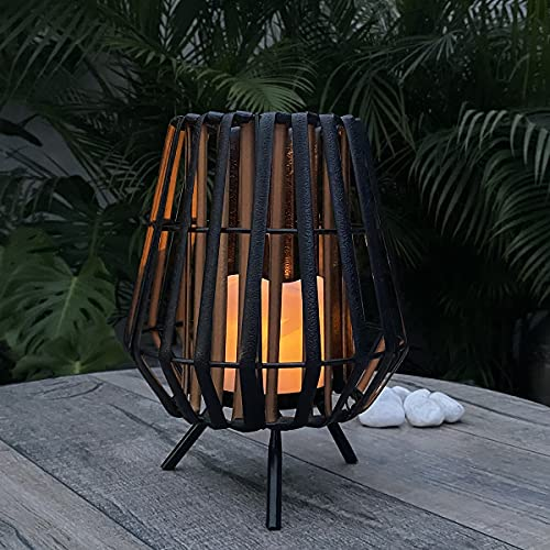 pearlstar Solar Candle Lantern Outdoor - Solar Lamp Decorative Waterproof LED Flickering Flameless Lights for Indoor Tabletop Patio Patio, Garden, Yard, Party Decorative
