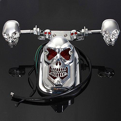 Alamor Skull Moto Atv Arrière Feu Arrière Clignotant Plaque De Frein