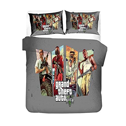 Grand Theft Auto Funda nórdica para niños y jóvenes, regalo de cumpleaños, juegos de cama de microfibra resistente a las arrugas y a la luz, (GTA5c, 135 x 200 cm + 80 x 80 cm x 2)