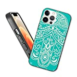 Compatible con iPhone 12 Pro Max Case ornamentales Pattern with Hamsa Geometric Circle Element Made in Vector Protective Shockproof Cover with Soft TPU Bumper and Hard PC Back (6.7 inch)