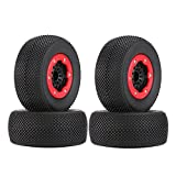 LAFEINA 110mm 1/10 Scale Rubber Tire with Wheel Rim for 1/10 Traxxas Slash HPI HoBao RC Racing Short Course Truck Car