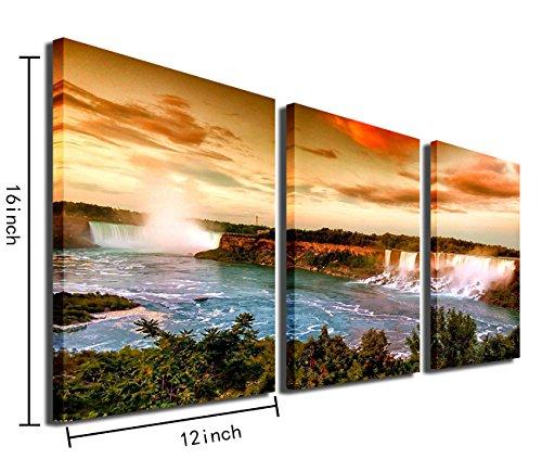 "Mon Art Niagara Waterfall Wall Art Sunset Landscape Canvas Print Picture for Bathroom Bedroom Living Room Dusk Scene Artwork Modern Contemporary Decoration Home Decor 12""x16""x3Pcs,Framed"