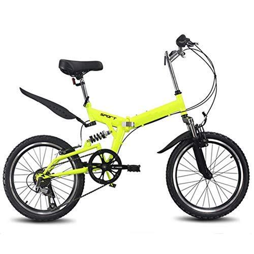 Bicicletta pieghevole da 20 pollici, 6 velocità variabili, mountain bike, per bambini, pieghevole, pieghevole, colore rosso