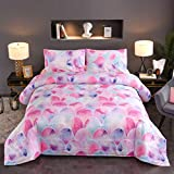 N/P Pink Mermaid Comforter Set Full Queen Size Kids Girls Multicolored 3D Fish Scale Bedding Sets Modern Scales Circles with Pastel Watercolors Rainbow Pattern Double Quilt Set,3pcs,Pink Blue