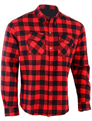Bikers Gear Australia - Camisa protectora de franela para motocicleta con forro de aramida multicolor Rojo/Negro medium