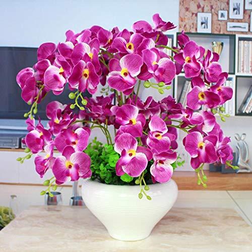 JHDPH3 Composizione Floreale Artificiale con Vaso in Porcellana Bianca, Fiori Artificiali E Interno Piante, Plastica 55 Cm * 45 Cm (Color : Purple1)