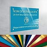 Plaque Professionnelle PLEXIGLAS - Plaque Gravée À Personnaliser 30 x 20 cm – 13 Couleurs Disponibles (fond Bleu Ciel)
