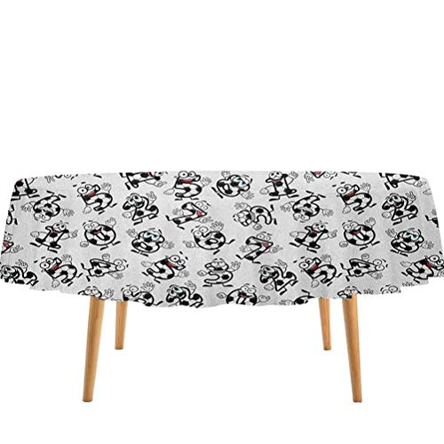 prunushome Soccer Tablecovers Cartoon Funny Football Numbers Pattern of Smiling Digits Sports and Education Theme for Dining Table, Buffet Parties and Camping Multicolor (60' Round)